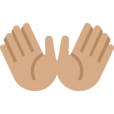 Open Hands: Medium Skin Tone on Twitter Twemoji 11.2