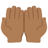Palms Up Together: Medium-Dark Skin Tone on Twitter Twemoji 11.2