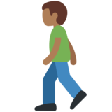 Person Walking: Medium-Dark Skin Tone on Twitter Twemoji 11.2