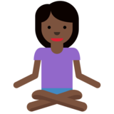 Person in Lotus Position: Dark Skin Tone on Twitter Twemoji 11.2