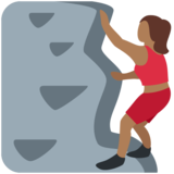 Woman Climbing: Medium-Dark Skin Tone on Twitter Twemoji 11.2