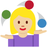 Woman Juggling: Medium-Light Skin Tone on Twitter Twemoji 11.2