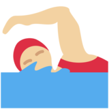 Woman Swimming: Medium-Light Skin Tone on Twitter Twemoji 11.2