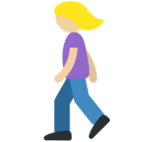 Woman Walking: Medium-Light Skin Tone on Twitter Twemoji 11.2