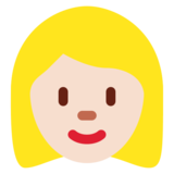 Woman: Light Skin Tone, Blond Hair on Twitter Twemoji 11.3