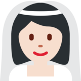 Bride With Veil: Light Skin Tone on Twitter Twemoji 11.3