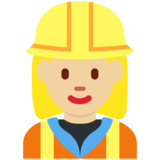 Woman Construction Worker: Medium-Light Skin Tone on Twitter Twemoji 11.3