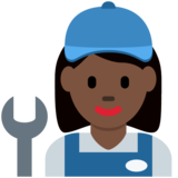 Woman Mechanic: Dark Skin Tone on Twitter Twemoji 11.3