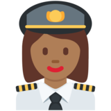 Woman Pilot: Medium-Dark Skin Tone on Twitter Twemoji 11.3