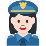 Woman Police Officer: Light Skin Tone on Twitter Twemoji 11.3