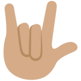 Love-You Gesture: Medium Skin Tone on Twitter Twemoji 11.3