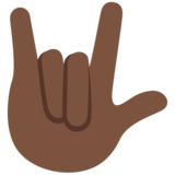 Love-You Gesture: Dark Skin Tone on Twitter Twemoji 11.3