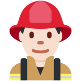 Man Firefighter: Light Skin Tone on Twitter Twemoji 11.3