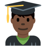Man Student: Dark Skin Tone on Twitter Twemoji 11.3