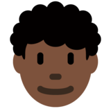 Man: Dark Skin Tone, Curly Hair on Twitter Twemoji 11.3