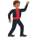 Man Dancing: Medium-Dark Skin Tone on Twitter Twemoji 11.3
