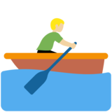 Man Rowing Boat: Medium-Light Skin Tone on Twitter Twemoji 11.3