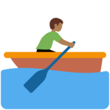 Man Rowing Boat: Medium-Dark Skin Tone on Twitter Twemoji 11.3