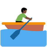 Man Rowing Boat: Dark Skin Tone on Twitter Twemoji 11.3