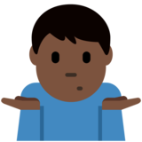 Man Shrugging: Dark Skin Tone on Twitter Twemoji 11.3
