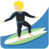 Man Surfing: Medium-Light Skin Tone on Twitter Twemoji 11.3