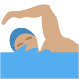 Man Swimming: Medium Skin Tone on Twitter Twemoji 11.3