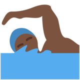 Man Swimming: Dark Skin Tone on Twitter Twemoji 11.3