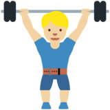 Man Lifting Weights: Medium-Light Skin Tone on Twitter Twemoji 11.3
