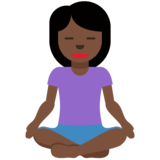 Person in Lotus Position: Dark Skin Tone on Twitter Twemoji 11.3