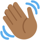 Waving Hand: Medium-Dark Skin Tone on Twitter Twemoji 11.3