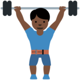 Person Lifting Weights: Dark Skin Tone on Twitter Twemoji 11.3