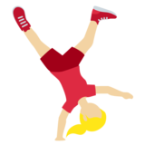 Woman Cartwheeling: Medium-Light Skin Tone on Twitter Twemoji 11.3