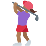 Woman Golfing: Medium-Dark Skin Tone on Twitter Twemoji 11.3