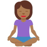 Woman in Lotus Position: Medium-Dark Skin Tone on Twitter Twemoji 11.3