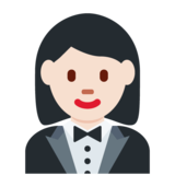 Woman in Tuxedo: Light Skin Tone on Twitter Twemoji 11.3