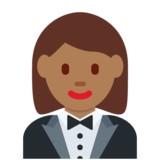Woman in Tuxedo: Medium-Dark Skin Tone on Twitter Twemoji 11.3