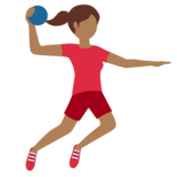 Woman Playing Handball: Medium-Dark Skin Tone on Twitter Twemoji 11.3