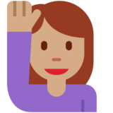 Woman Raising Hand: Medium Skin Tone on Twitter Twemoji 11.3