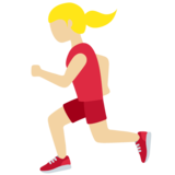 Woman Running: Medium-Light Skin Tone on Twitter Twemoji 11.3