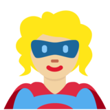 Woman Superhero: Medium-Light Skin Tone on Twitter Twemoji 11.3