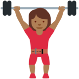 Woman Lifting Weights: Medium-Dark Skin Tone on Twitter Twemoji 11.3