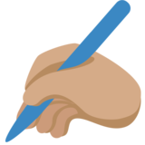 Writing Hand: Medium Skin Tone on Twitter Twemoji 11.3