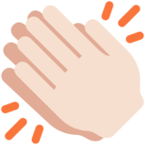 Clapping Hands: Light Skin Tone on Twitter Twemoji 12.0