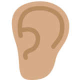 Ear: Medium Skin Tone on Twitter Twemoji 12.0