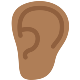 Ear: Medium-Dark Skin Tone on Twitter Twemoji 12.0