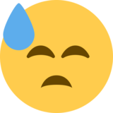 Downcast Face with Sweat on Twitter Twemoji 12.0