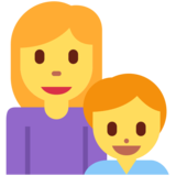 Family: Woman, Boy on Twitter Twemoji 12.0