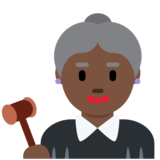 Woman Judge: Dark Skin Tone on Twitter Twemoji 12.0