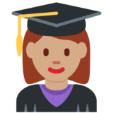 Woman Student: Medium Skin Tone on Twitter Twemoji 12.0