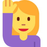 Person Raising Hand on Twitter Twemoji 12.0